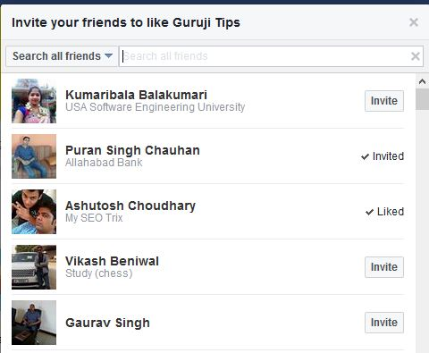 Invite Friend to Like Page
