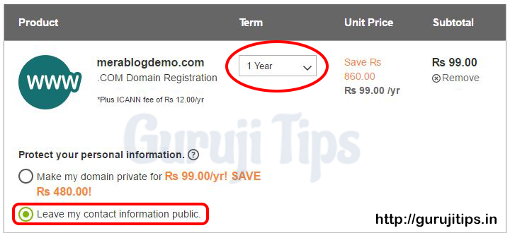 How to purchase dot com domain in rs 99