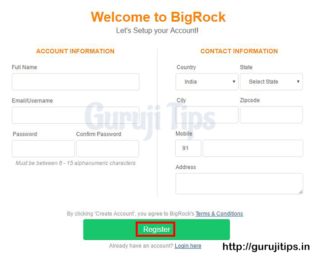 Bigrock Sign up Process