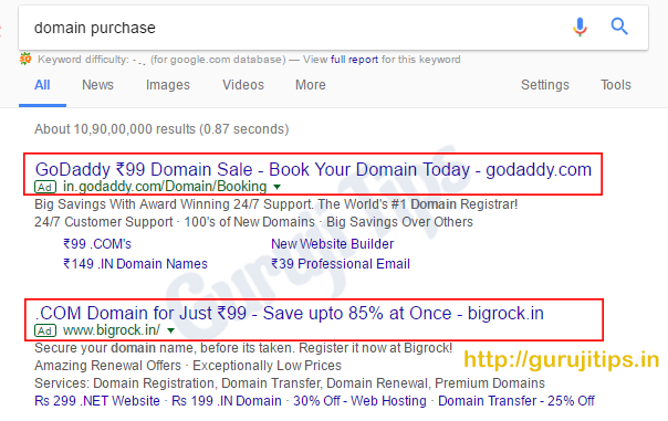 Domain in Rs 99