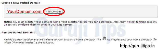 Park Domain in Cpanel
