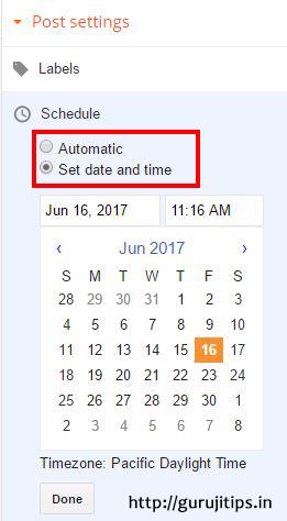 Post Schedule in Blogspot