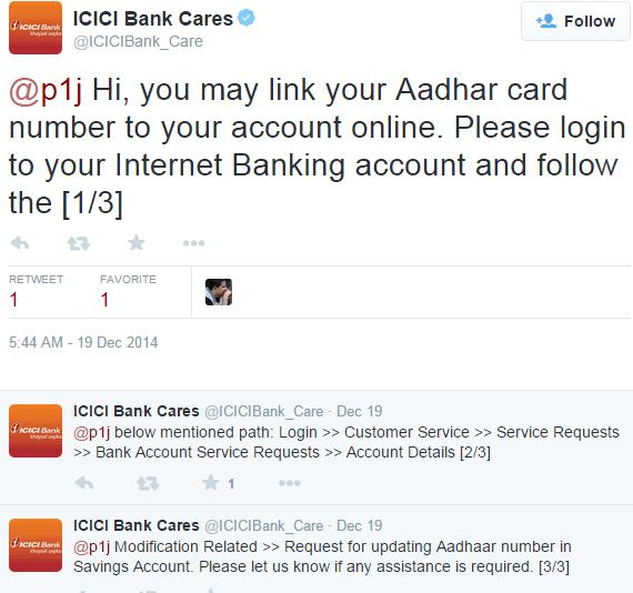 Link Aadhaar Card to ICICI Bank Account